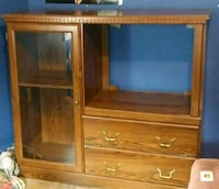 brown wooden TV hutch with flat screen television Pekin, 61554