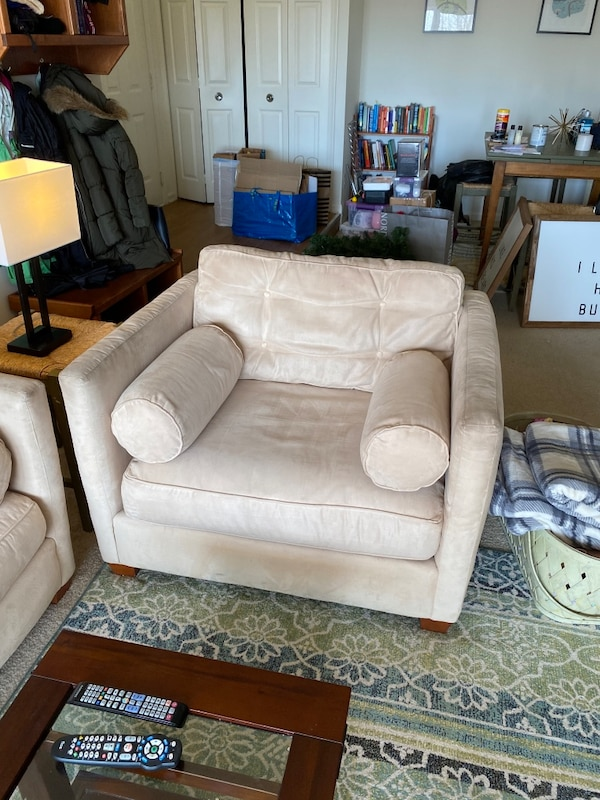 Super comfy suede sofa and chair with ottoman 02b942bf-2543-40e2-acb3-34c1565930af