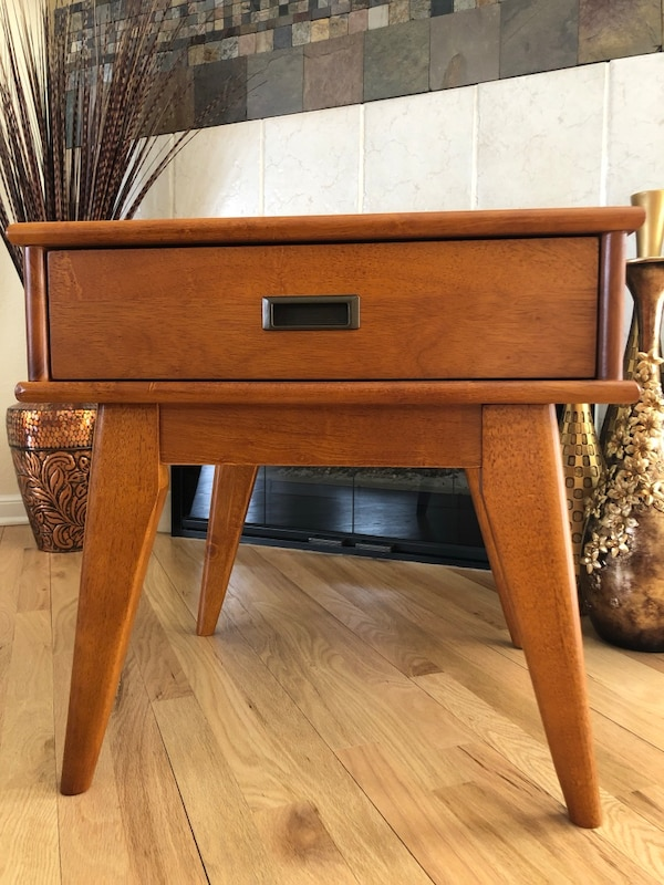 Mid-Century Modern-Inspired Solid Wood Sofa or Bedside Table