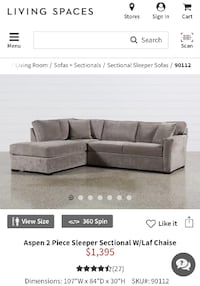 Living spaces Sectional with sleeper null
