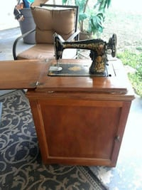 brown and black treadle sewing machine Mulberry, 33860