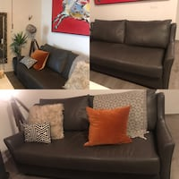 Charcoal Leather Couch ( mint condition ) Toronto, M5T 1S2