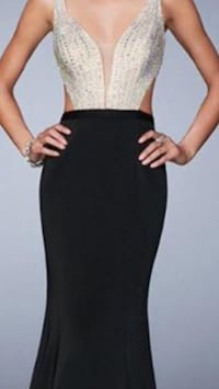 PROM dress black and gold dress