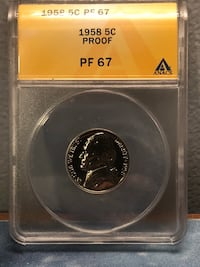 1958 Proof Nickel PF67 ANACS #6096508 Baltimore, 21206