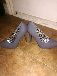 pair of gray suede platform stilettos 549 km