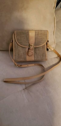 BRAHMIN Tweed and Leather Crossbody Purse