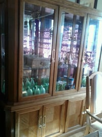 brown wooden framed glass display cabinet Toronto, M9R 3T6