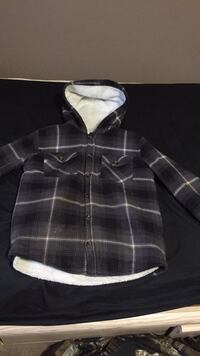 Black and gray plaid button up jacket North Battleford, S9A 3J3