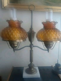 Antique lamps with hurricane lantern shades.  Albany, 12206
