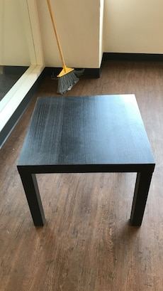 squared black wooden table