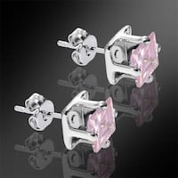 Brand New 925 Sterling Silver Studs with 2.0CT Pink CZ 7mm in package Austin, 78753