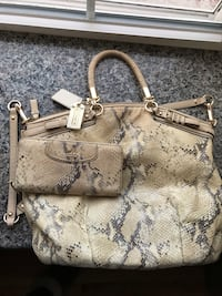 brown and gray leather handbag Cohoes, 12047