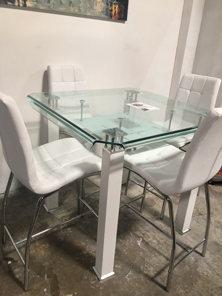 Modern pub glass dining table with 4