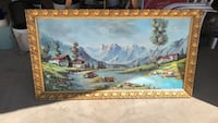 Gold wooden framed painting of house Gilbert, 85233