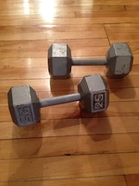two of 25 lbs gray dumbbells