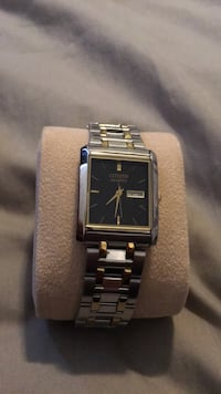 Citizen Watch sliver and gold with black face  53 km