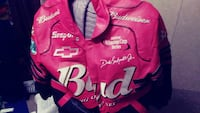 red and white Budweiser leather zip-up jacket