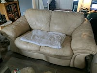 Leather ivory couch  (MUST PICK UP) Fayetteville, 28303