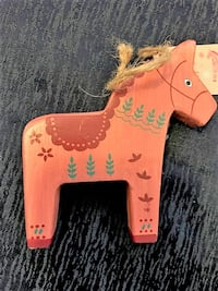 Red Wood Horse Christmas Ornament New San Diego