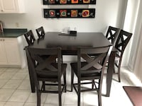 Family dining table seats 8 with built in leaf