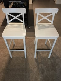 2 White Barstools With Backrest Vienna, 22180