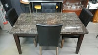 Marble Dining Table with Leather Chairs Hamilton