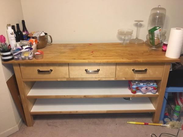 Used Ikea Varde kitchen cabinet island for sale in San ...