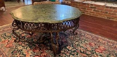 marble top iron coffee table
