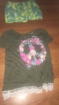 women's gray and pink floral blouse Sulphur, 70663