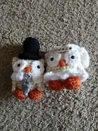 two white-and-orange knitted owl plush otys Calgary, T2R