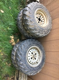 two gray bullet hole car wheels with tires Cambridge, N1S