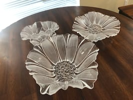 Glass floral decorative bowl and plates