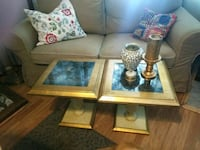 brown wooden framed glass top coffee table Cornelius, 97113