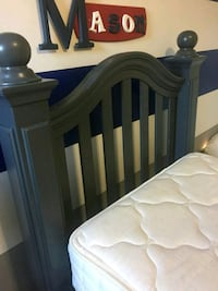blue wooden bed frame with white mattress London, N6J 4A9