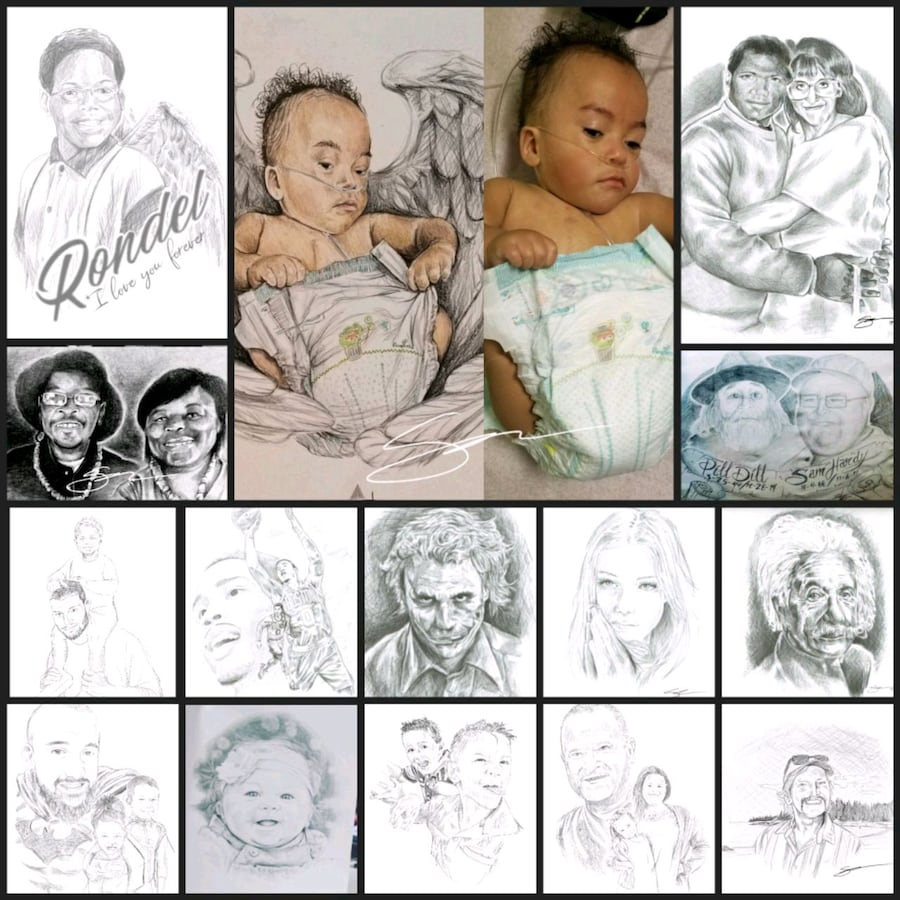 100% custom  hand drawn portraits , of your baby , kids , love one.