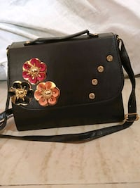 black and red floral leather crossbody bag Thane, 400615