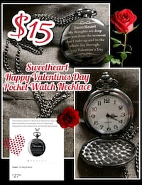 Sweetheart Valentines Day Pocket Watch Necklace