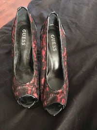 Guess heels  black with red lace paid 200  worn once