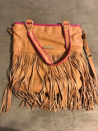 women's brown leather fringe two way bag