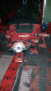 red Hilti power tools with bag