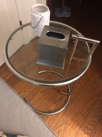 Glass, silver Adjustable end table.