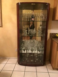 brown wooden framed glass display china cabinet