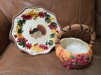 New Thanksgiving turkey plate and basket bowl table decorations  Fresno, 93727