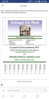 APT For Rent 1BR 1BA Gerrardstown