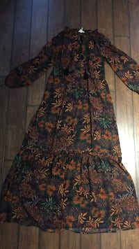 Blue, orange, and green floral long sleeve maxi dress