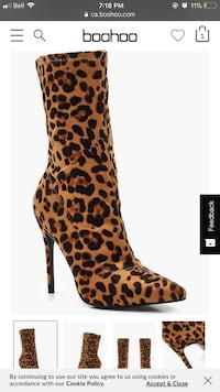 unpaired brown and black leopard print stiletto boot Vaughan, L6A 1E8
