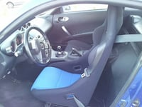 blue-and-black car bucket seats