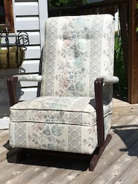 white and black floral fabric padded armchair Calgary, T3A 5N1