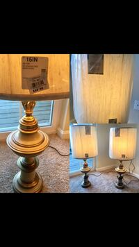 two brown wooden base table lamps 24 km