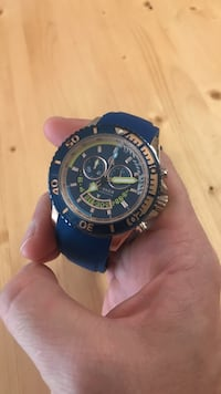 round black and blue chronograph watch Vancouver, V5Z 4K2